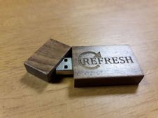 'Refresh' engraved 8GB Blank USB for uploading designs for machine embroidery